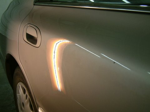Dent repaired on Honda Accord without painting